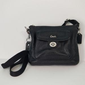 Coach Swingpack 45012 Black Leather Cross Body Bag